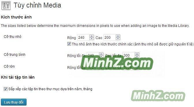 Tuỳ chỉnh Media - WordPress