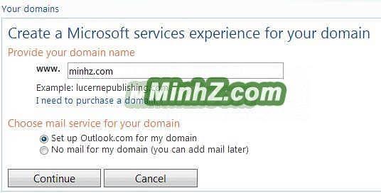Đăng ký email dạng ttên miền với Outlook