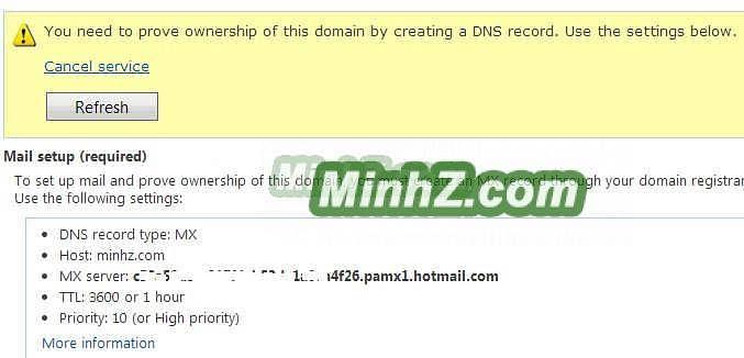Cài đặt mail DNS cho Outlook