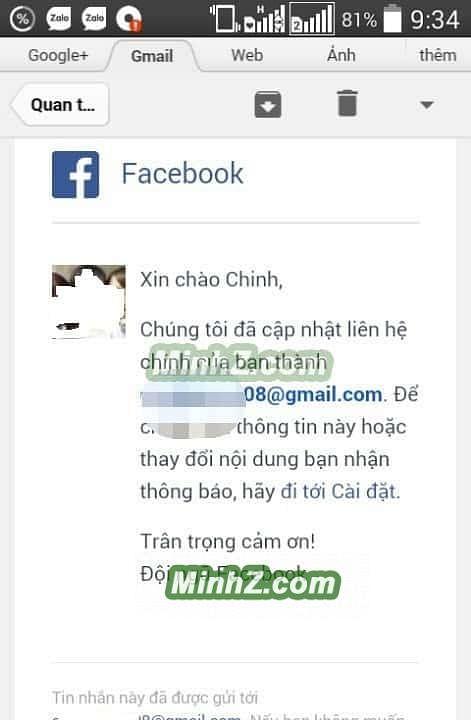Xác nhận email mới vào tài khoản facebook